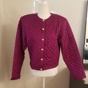 Neiman Marcus plum silk quilted jacket